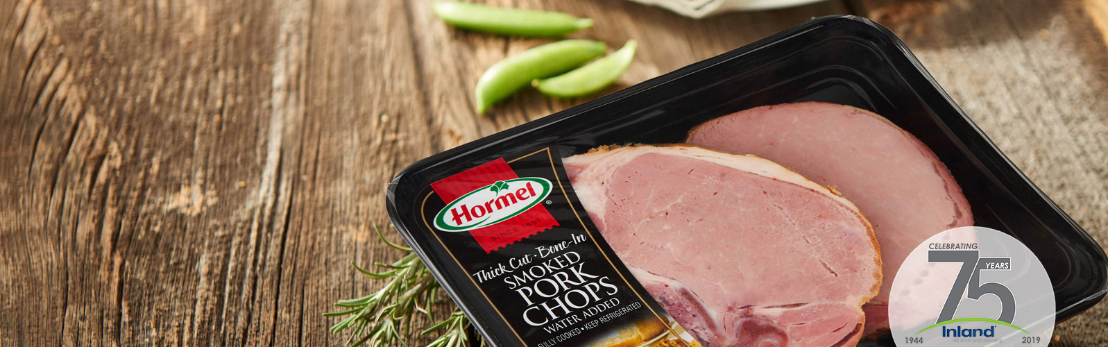 Hormel smoked pork chops pressure sensitive label by Inland