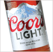 Award winning Coors Light beer label by Inland