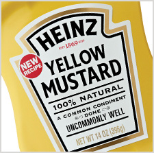 Heinz Yellow Mustard close up of label
