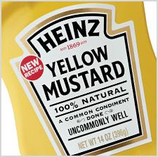 Heinz Yellow Mustard close up of label