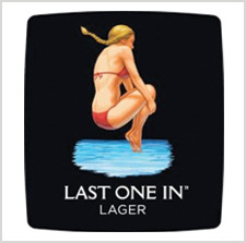 Last One In Lager label