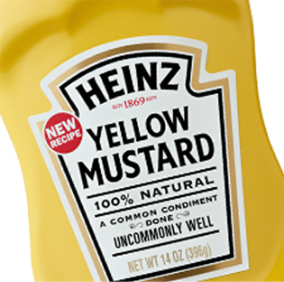 Heinz yellow mustard inland packaging for Heinz label template